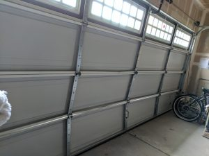 inside damaged garage door