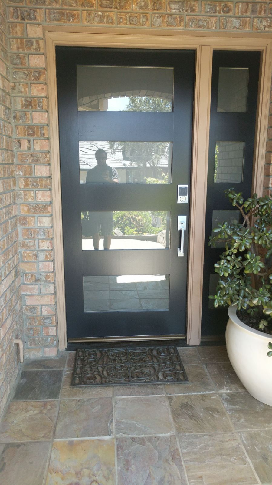 Doors To Garage: Custom Contemporary Glass Garage Door & Entry Door