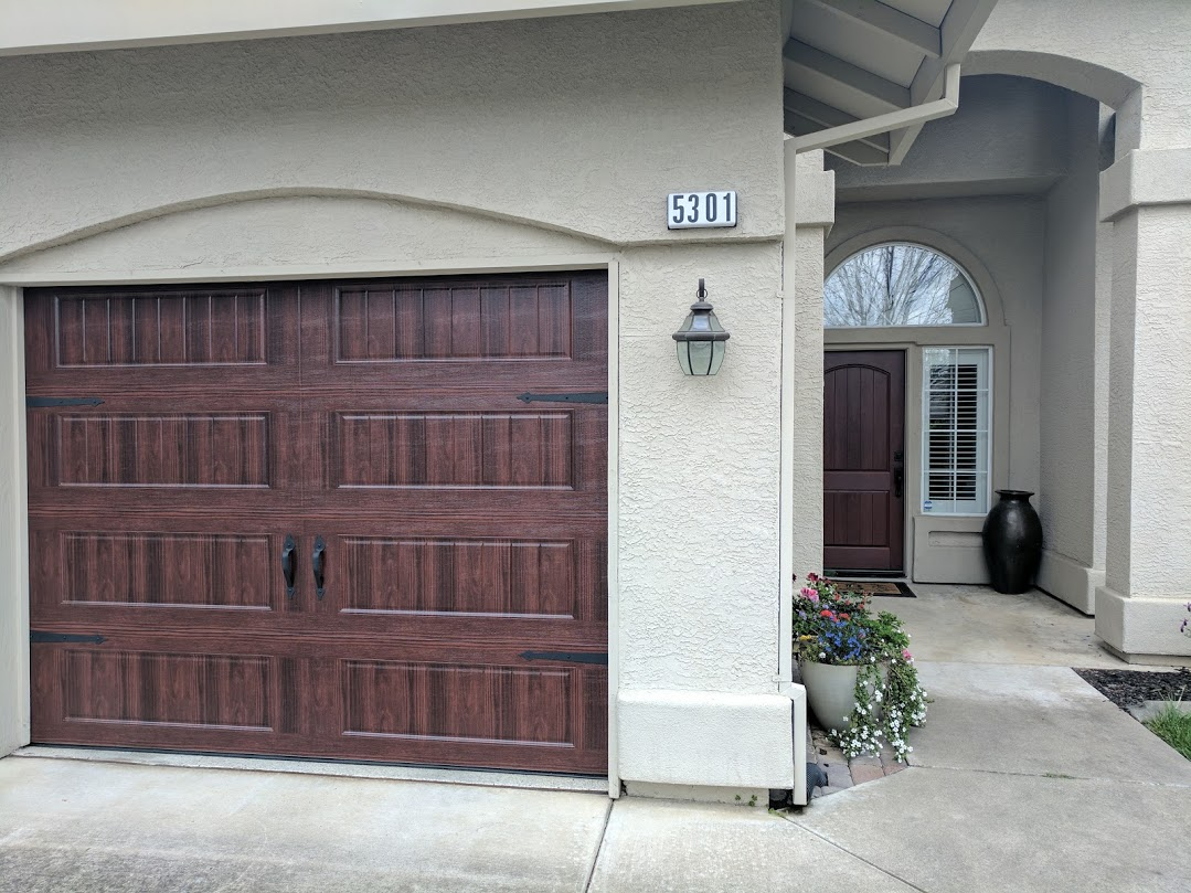 In This Up Close Picture Above You Can See What A Match The Garage Doors And New Front Entry Door Is Similar Wood Grain Design Matching